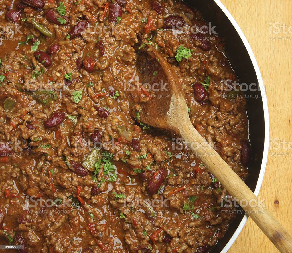 Cooking Chilli Con Carne stock photo