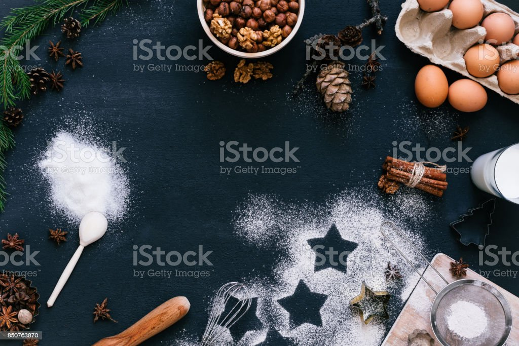 Cooking Christmas cookies stock photo