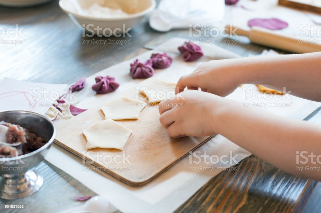 cooking class, culinary. food and people concept/ molding of pelmeni or meat dumplings, child hands in process royalty-free stock photo