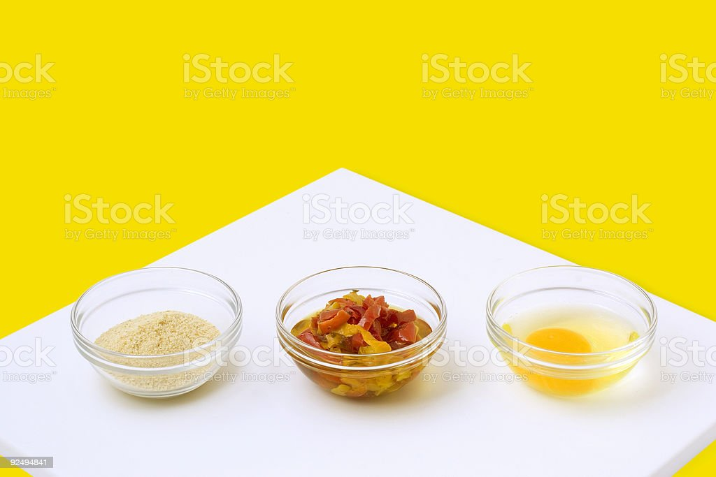 Cooking: Condiments in Glass Chef Bowls royalty-free stock photo