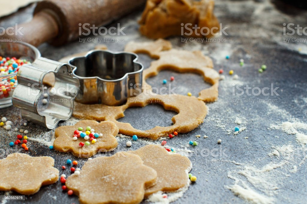 Cooking cookies with  cookie cutters - Royalty-free Baked Pastry Item Stock Photo