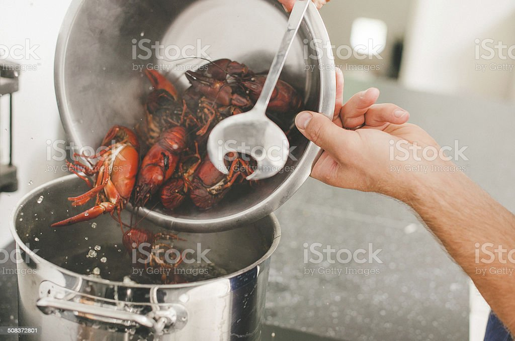 Cooking crayfish at home royalty-free stock photo