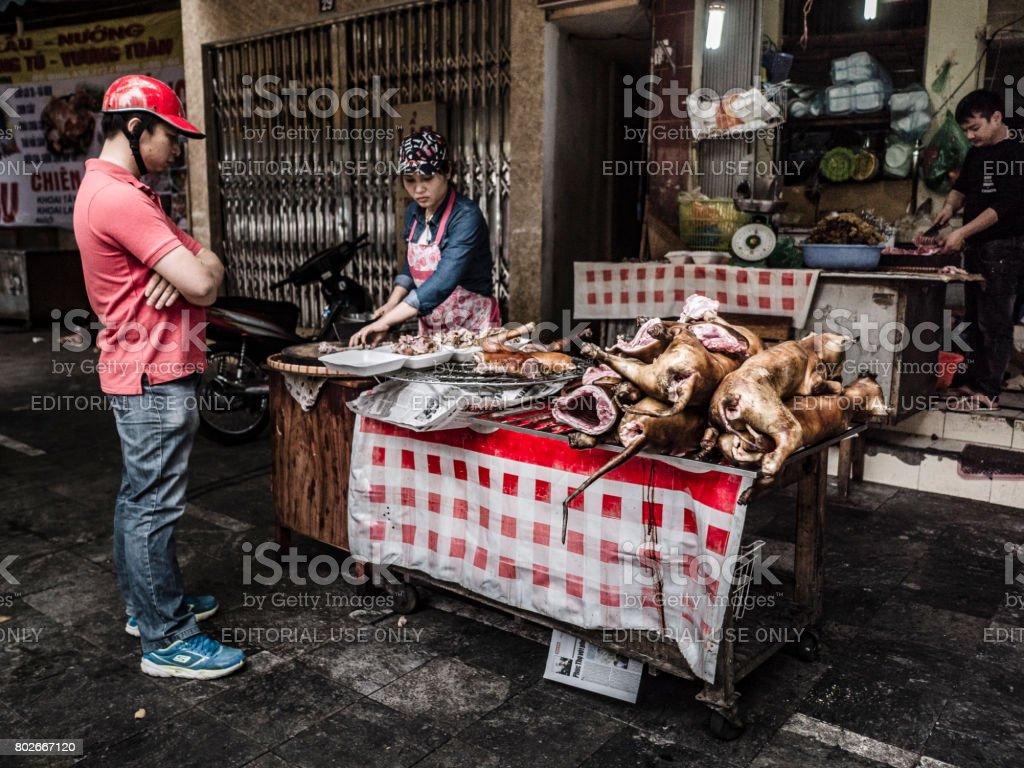 Cooking dog meat in Hanoi Vietnam stock photo
