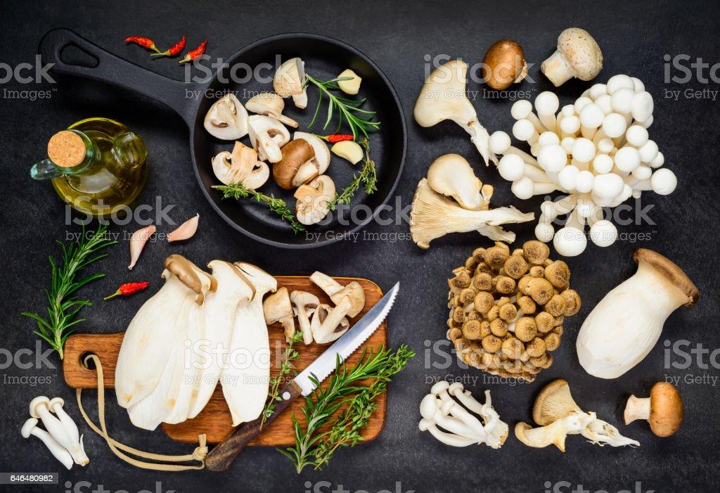 Cooking Edible Mushrooms Food stock photo