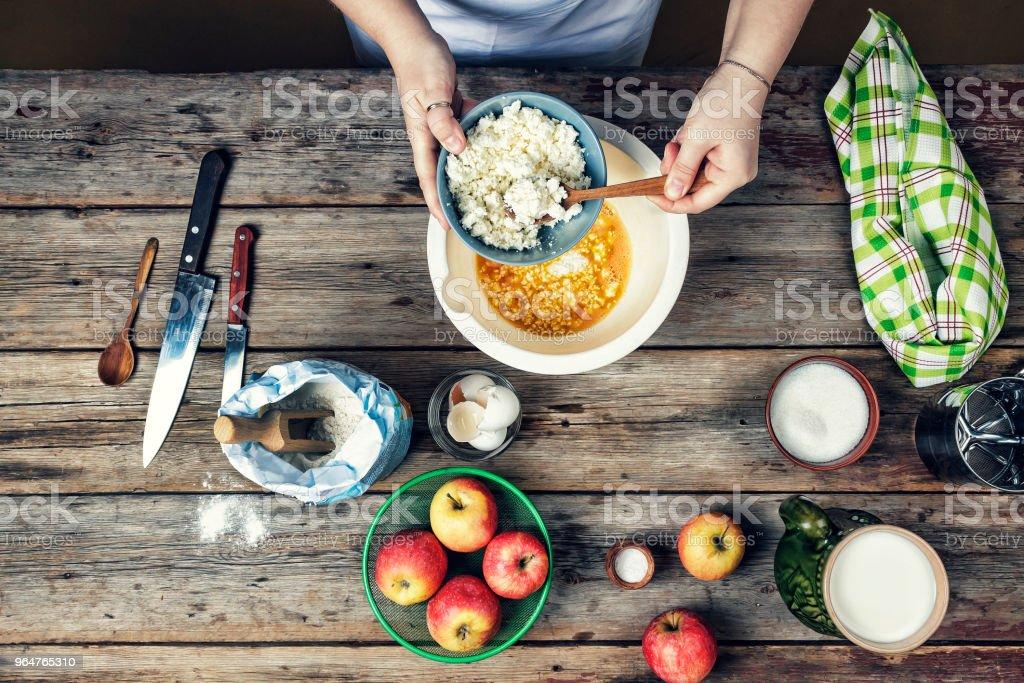 cooking food. breakfast, cake, frying, domestic, ingredients, prepare royalty-free stock photo