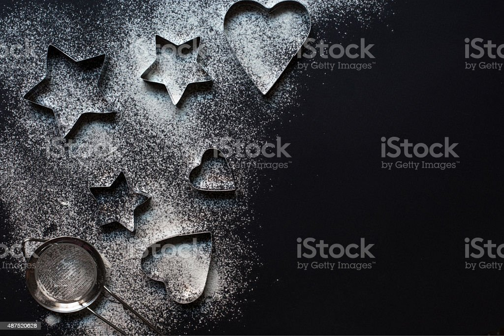 cooking forms on black background with pain stock photo