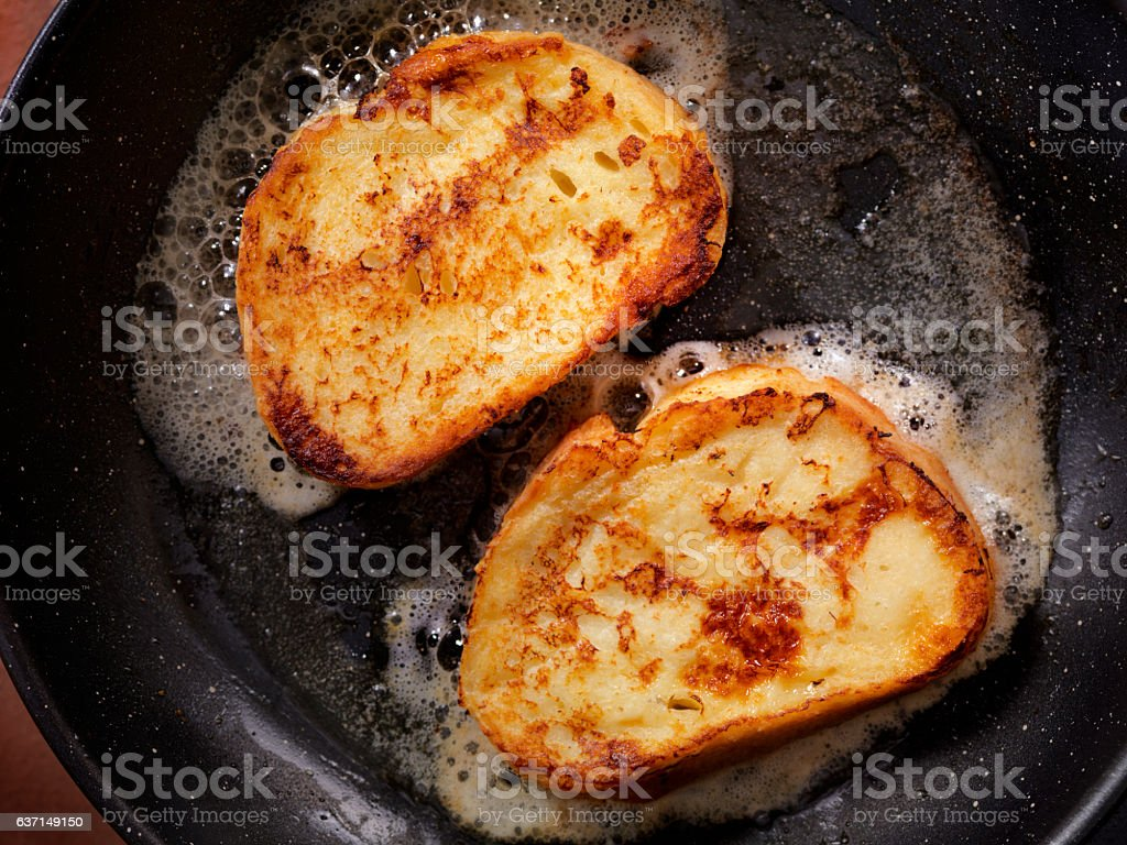 Cooking French Toast stock photo