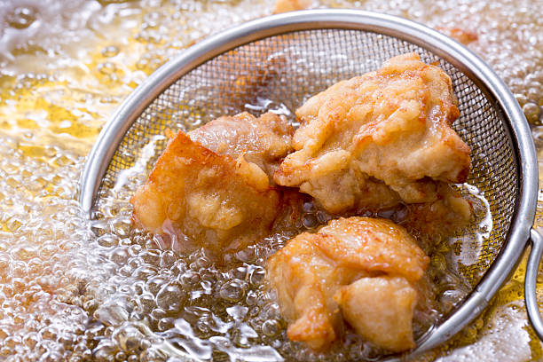 Cooking fried chicken fried stock photo