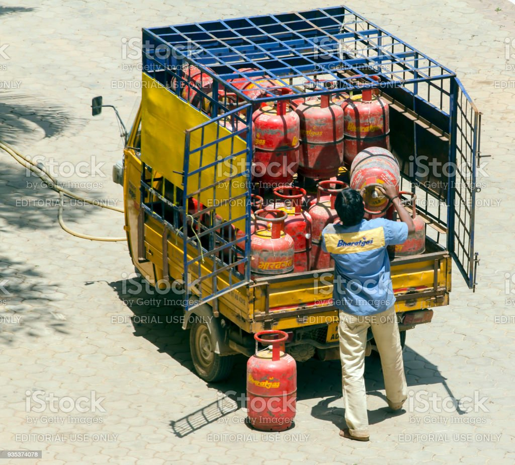 Cooking gas supply, India stock photo