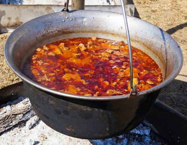 kochen im freien in einem kessel gulasch - schweinegulasch stock-fotos und bilder