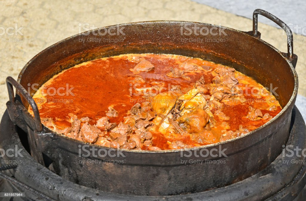 Cooking goulash outdoor stock photo