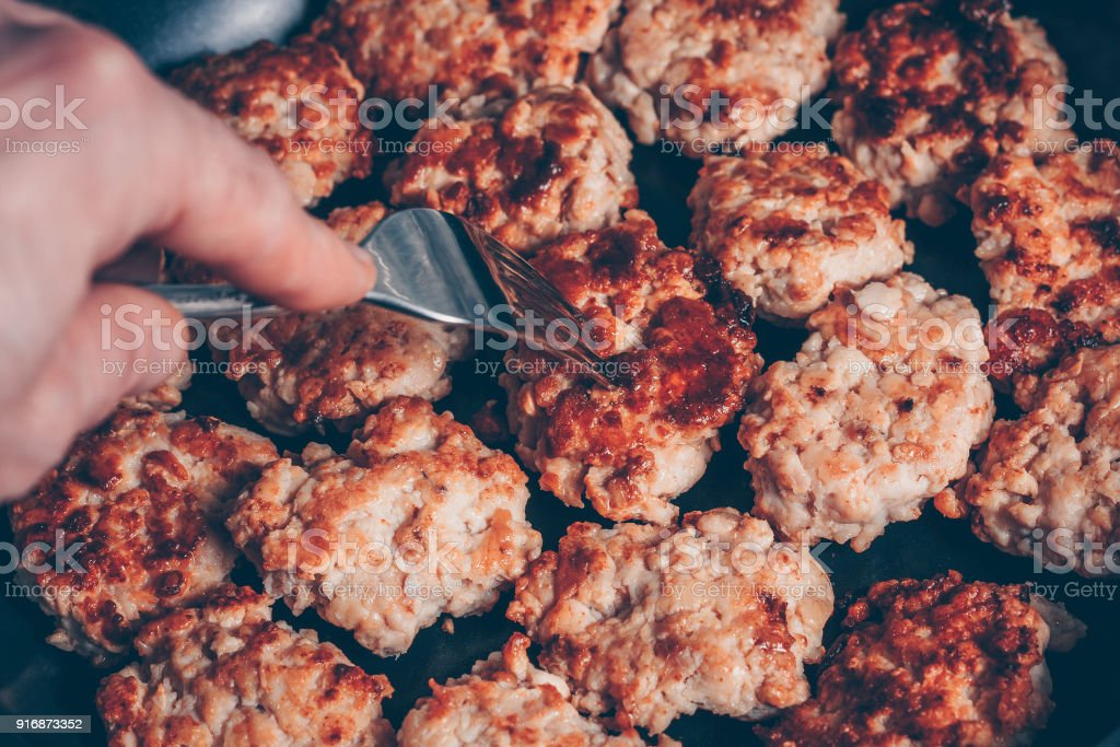 Cooking In A Frying Pan Fry Patties From Chicken Mince Try A Fork