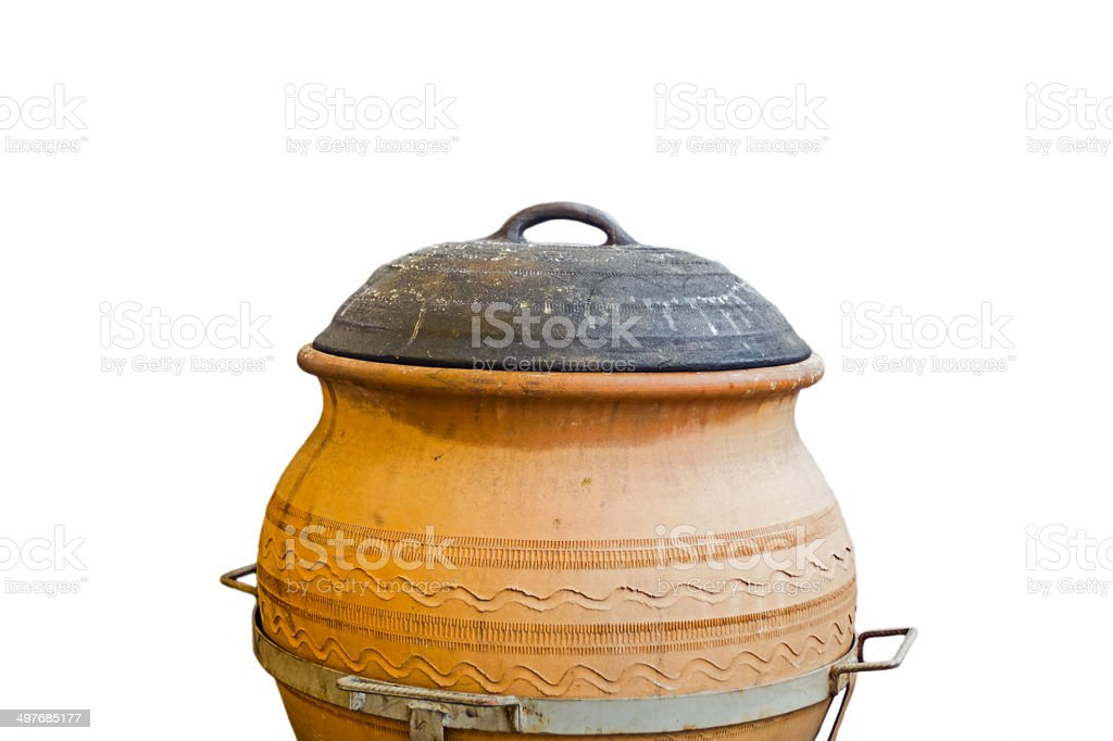 Cooking in ceramic pots stock photo