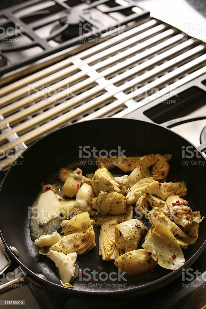 Cooking in Commercial Kitchen Stove Cook Top royalty-free stock photo