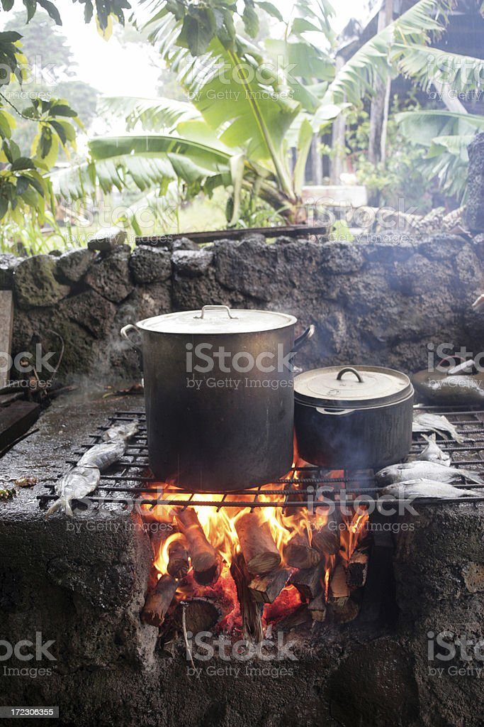 Cooking in Rapa Nui royalty-free stock photo