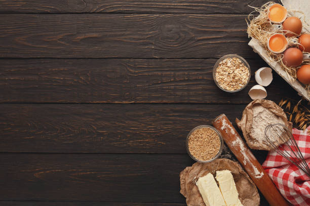 Cooking ingredients for dough background with copy space stock photo
