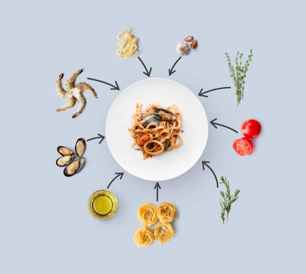 kochzutaten für italienische küche, pasta mit meeresfrüchten, isoliert auf blau - ring anleitung stock-fotos und bilder