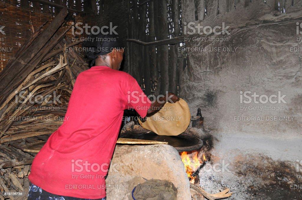 Cooking injera stock photo