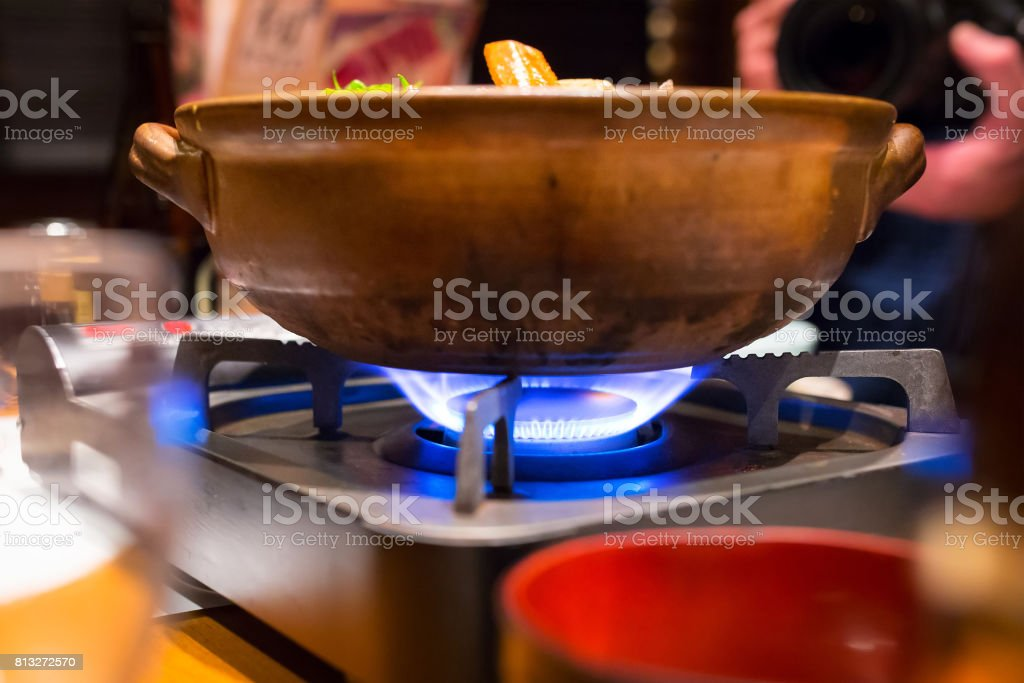 Cooking japanese soup stock photo
