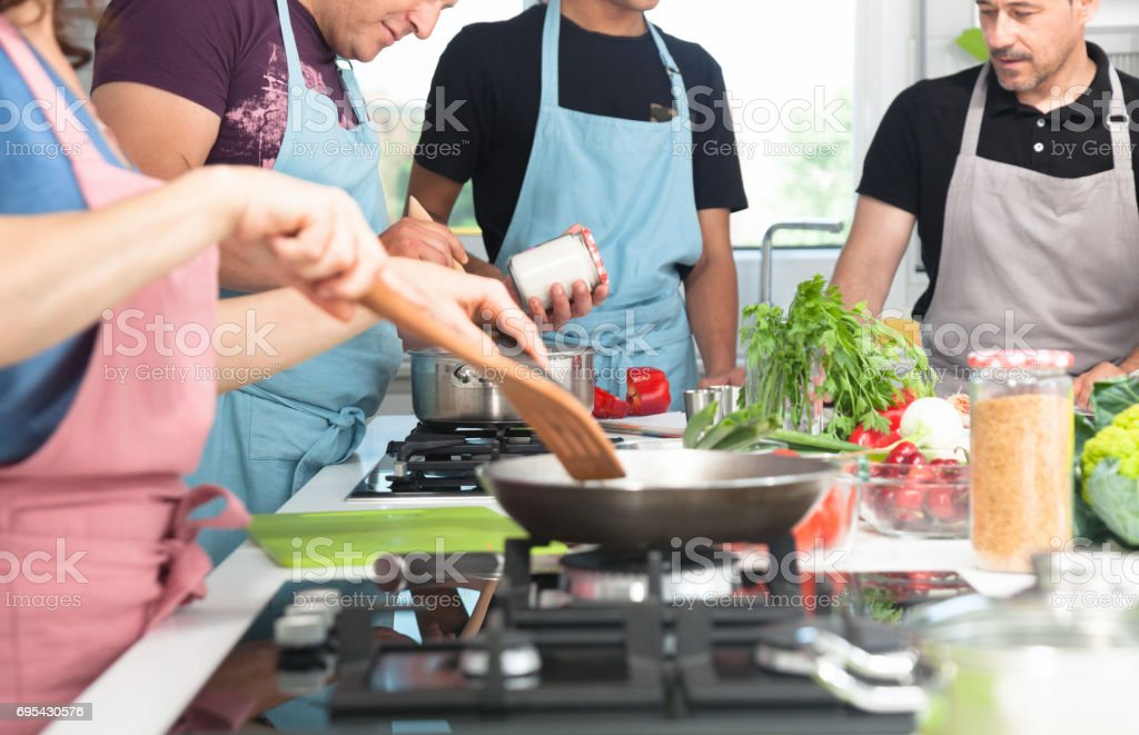Cooking lesson,group stock photo