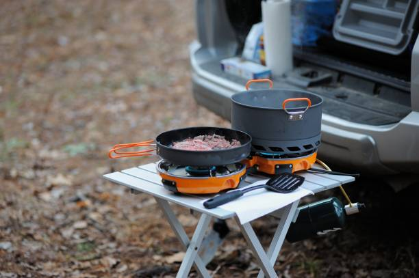Cooking meat on camp stove in woods stock photo
