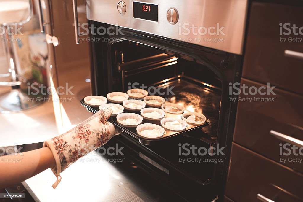 Cooking muffins stock photo
