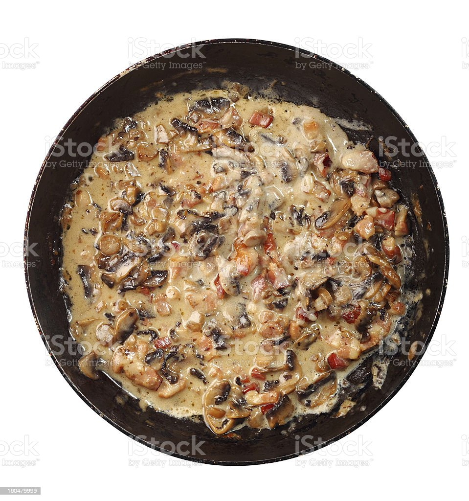 Cooking Mushroom Sauce with Bacon in Frying Pan royalty-free stock photo