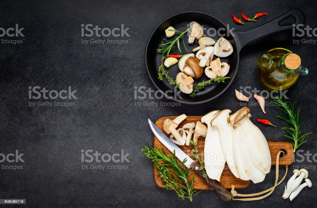Cooking Mushrooms with Copy Space stock photo