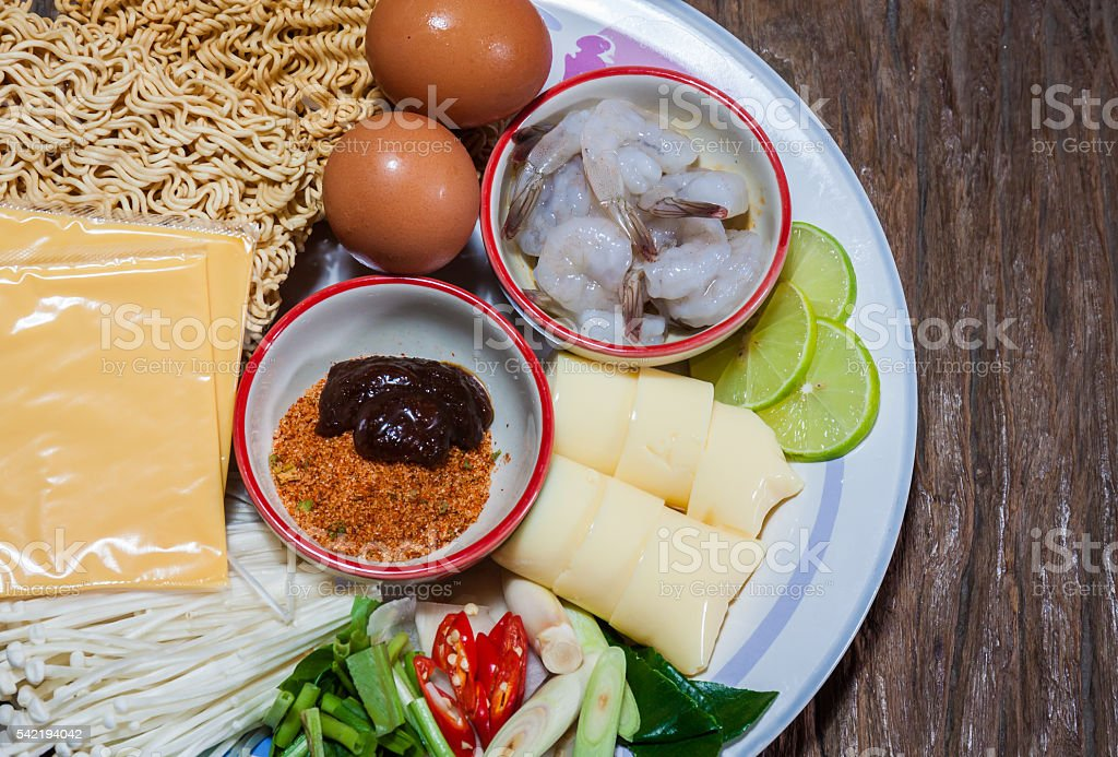 Cooking nutrition instant noodle with cheese stock photo