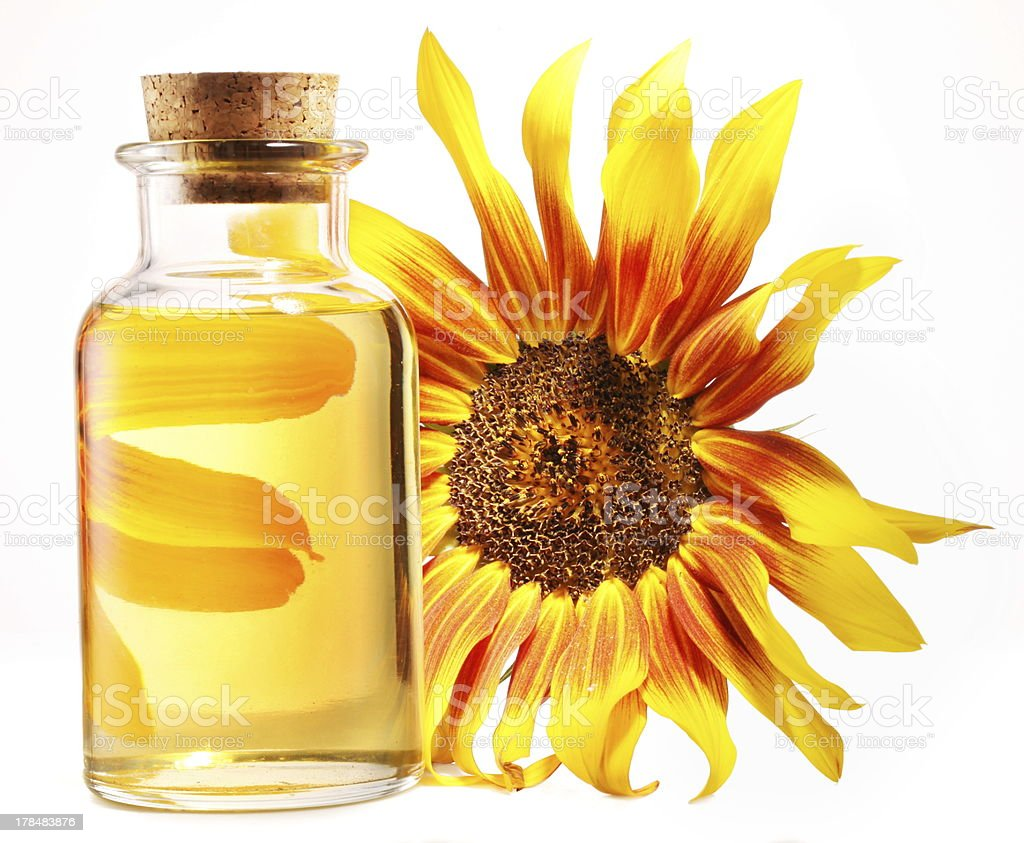 Cooking oil in glass bottle with sunflower stock photo