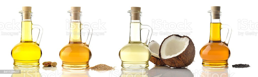 Cooking Oils on White Background stock photo