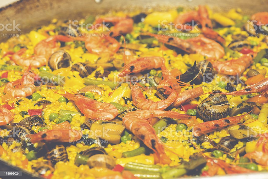 Cooking paella royalty-free stock photo