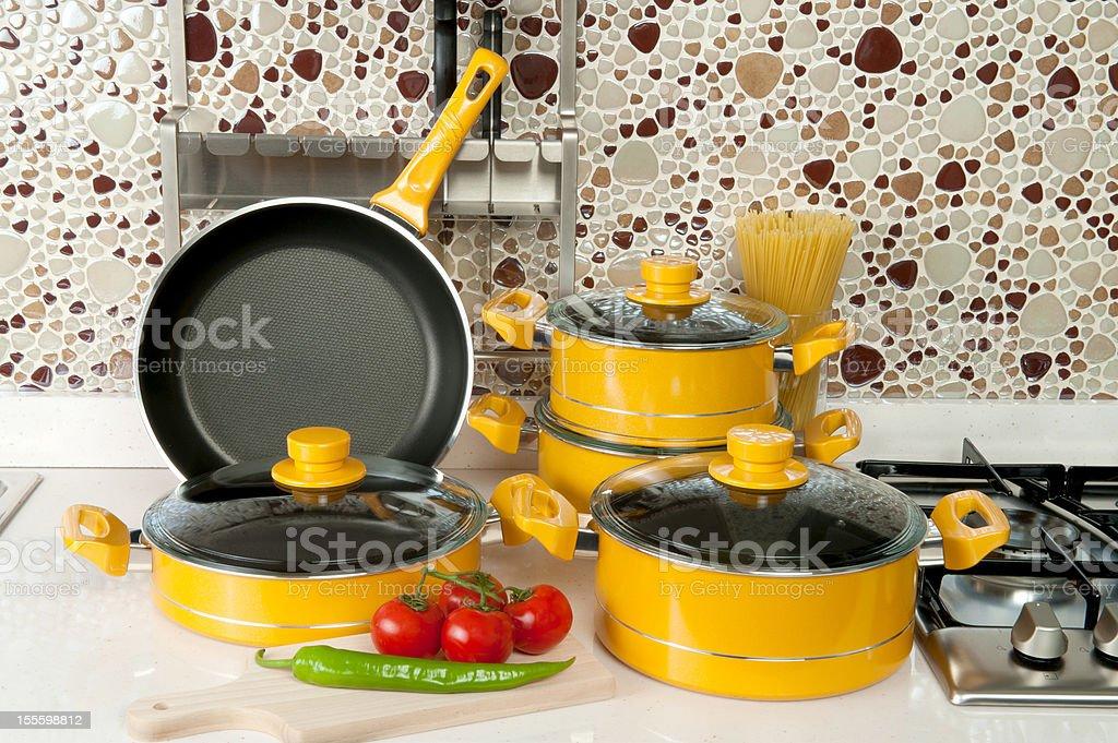 Cooking pan set stock photo