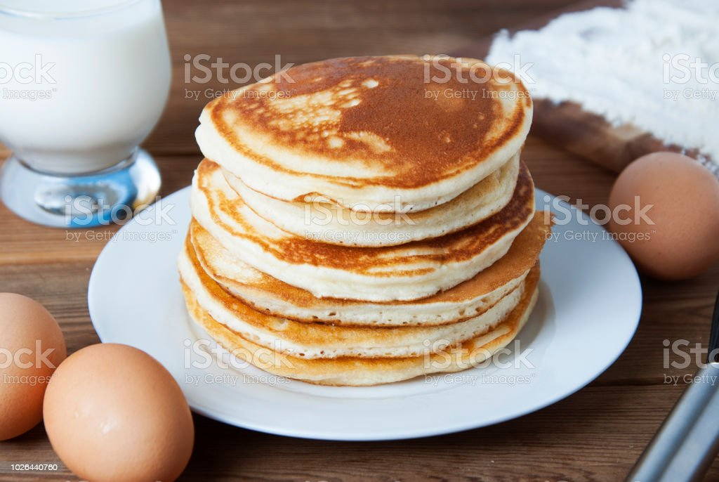 Cooking Pancake On Wooden Background Top View Ingredients