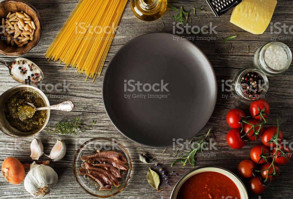 cooking pasta meal stock photo