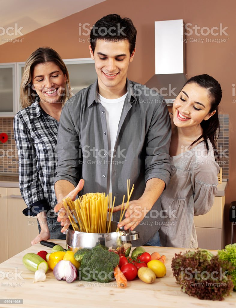 cooking pasta royalty-free stock photo