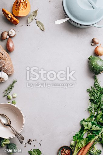 Cooking pot and various organic ingredients, top view, cooking concept, food frame