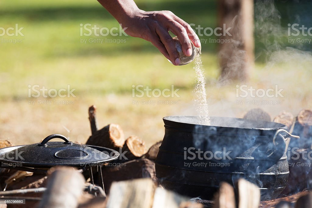 Cooking Potjie stock photo