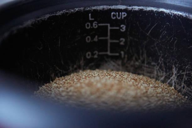 Cooking quinoa stock photo