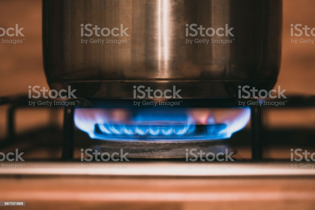 cooking range. gas. boiling. stock photo