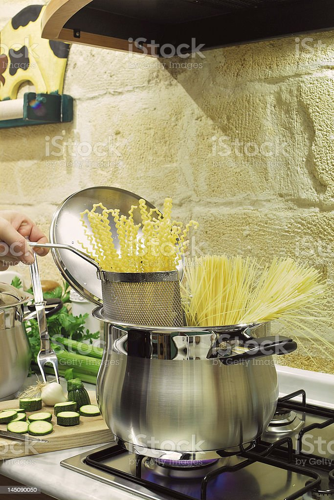 cooking spaghetti royalty-free stock photo