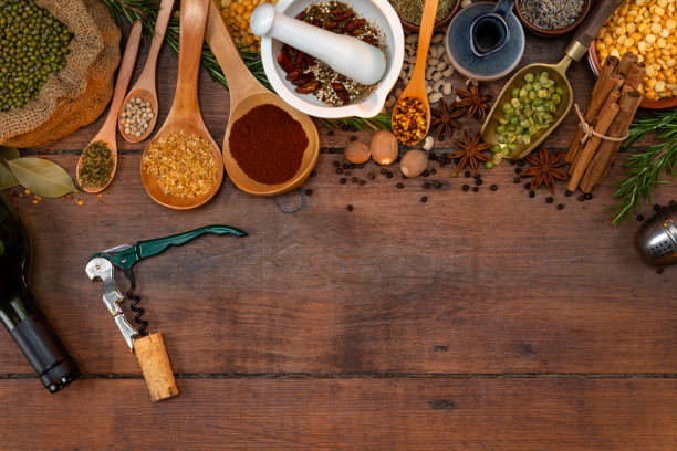 Cooking spices and herbs - space for text stock photo