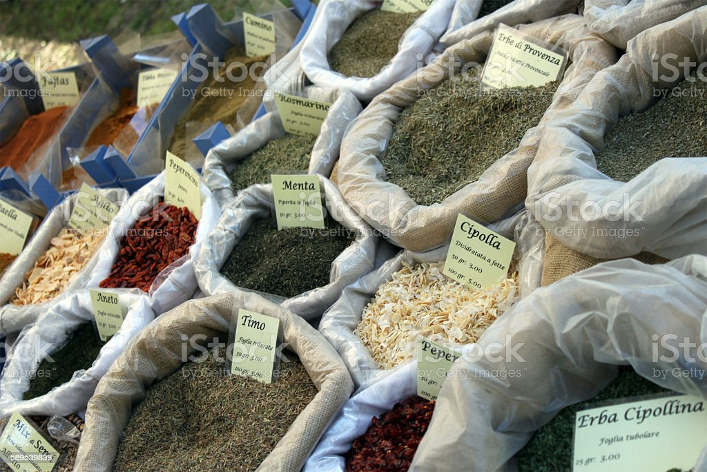 Cooking spices at market stall - Santa Margherita, Italy stock photo