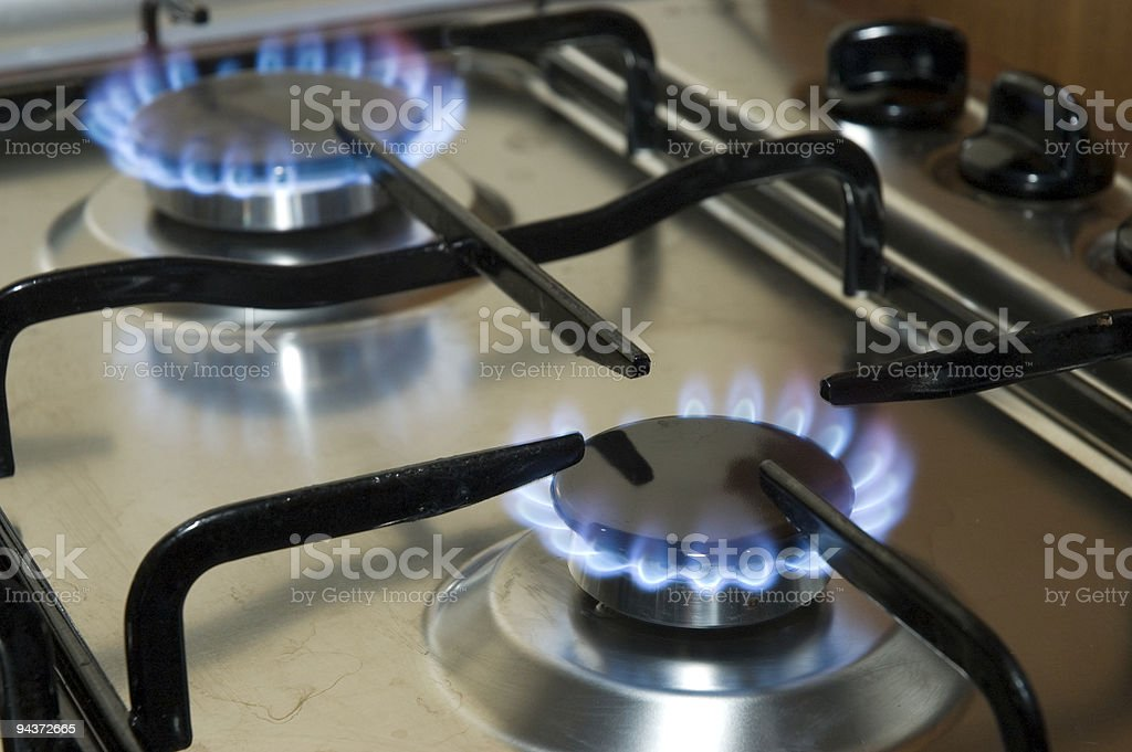 Cooking surface and gas stock photo
