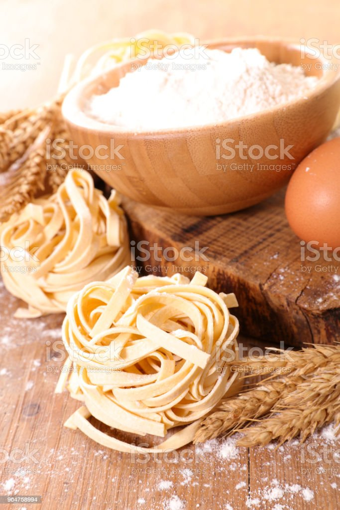 cooking tagliatelle and ingredient royalty-free stock photo