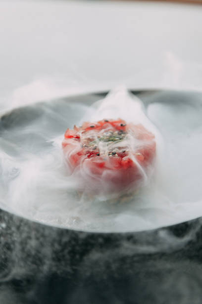 cooking Tartar of beef cooking Tartar of beef and in the supply of liquid nitrogen nitrogen stock pictures, royalty-free photos & images