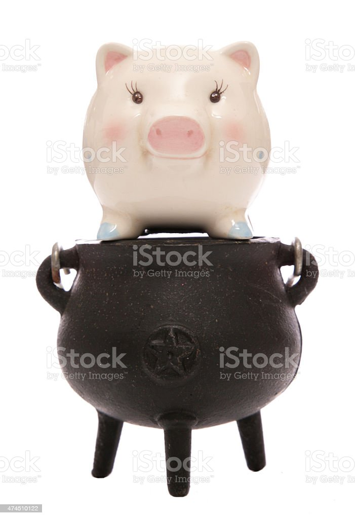 cooking the books piggy bank stock photo