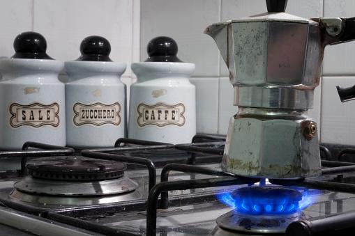 Cooking the Italian coffee