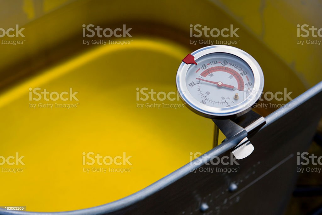 Cooking Thermometer in turkey deep fryer pot filled with oil royalty-free stock photo