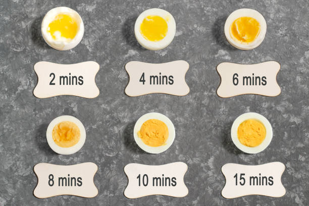 Cooking time and degree of readiness of boiled eggs stock photo